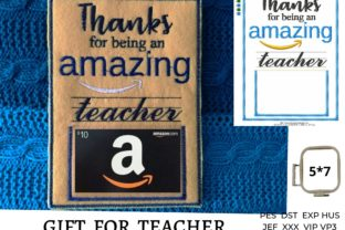Teacher Gift Card Holder Graduation Embroidery Design By LaceArtDesigns