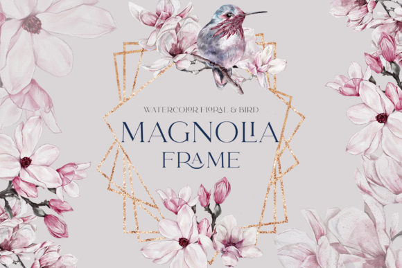 Print on Demand: Watercolor Floral Rose Gold Frame PNG Graphic Illustrations By Busy May Studio