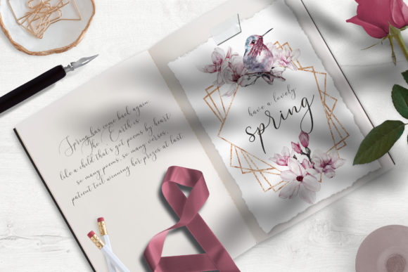 Watercolor Floral Rose Gold Frame PNG Graphic Download