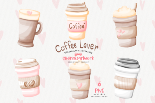 Print on Demand: Watercolor Coffee Cup Clipart Bundle Graphic Illustrations By Chonnieartwork