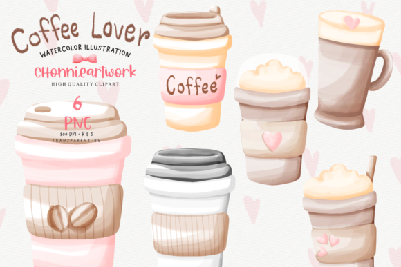 Watercolor Coffee Cup Clipart Bundle Graphic Download