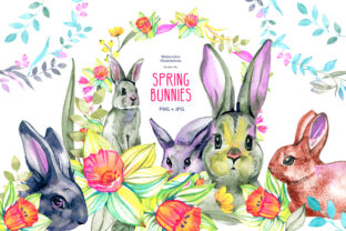 Watercolor Spring Bunnies Graphic Illustrations By NataliMyaStore
