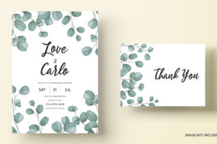 Wedding Card with Eucalyptus Leaves Graphic Print Templates By dinomikael01
