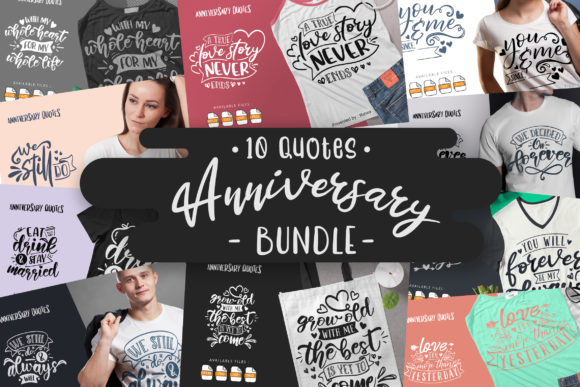 Print on Demand: 10 Anniversary Bundle | Lettering Quotes Graphic Crafts By Vunira