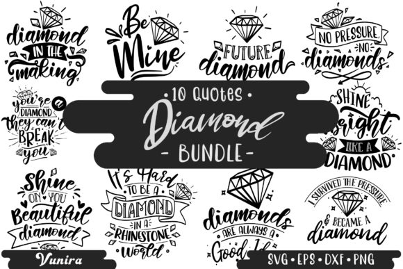 Print on Demand: 10 Diamond Bundle | Lettering Quotes Graphic Crafts By Vunira
