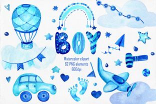 Print on Demand: Baby Boy Watercolor Clipart Graphic Illustrations By ksenia.shuneiko