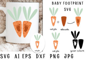 Print on Demand: Baby Footprint. My First Easter. Carrot Graphic Illustrations By vitaminka26