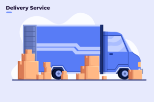 Cargo Delivery Service with Truck Graphic Illustrations By Delook Creative