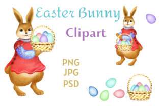 Print on Demand: Clipart Easter Bunny with Basket of Eggs Grafik Illustrationen von Iva Art