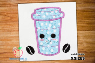 Coffee Cup with Beans Applique Design Tea & Coffee Embroidery Design By embroiderydesigns101