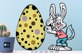 Print on Demand: Easter Bunny Shows a Large Egg Graphic Illustrations By Na Punya Studio
