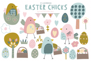 Print on Demand: Easter Chicks Clipart Set Graphic Illustrations By poppymoondesign