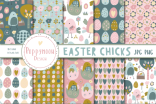 Print on Demand: Easter Chicks Paper Set Graphic Patterns By poppymoondesign