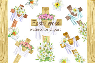 Easter Cross Clipart. Easter Flower Graphic Add-ons By EvArtPrint