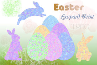 Print on Demand: Easter, Eggs, Bunny, Leopard Print Grafik Illustrationen von Iva Art