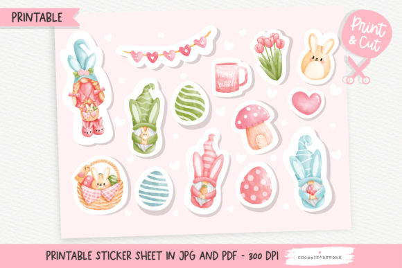 Print on Demand: Easter Gnome Printable Stickers Sheet Graphic Crafts By Chonnieartwork