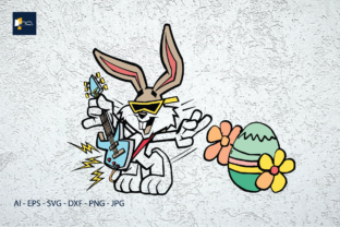 Print on Demand: Easter Happy Rabbit Dancing with Eggs Graphic Illustrations By Na Punya Studio