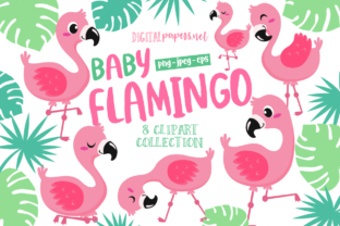 Print on Demand: Baby Flamingo Clipart Set Graphic Illustrations By DigitalPapers