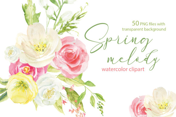Spring Melody, Watercolor Clipart Graphic Illustrations By lena-dorosh