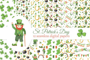Print on Demand: St. Patrick's Day Digital Papers Set Graphic Patterns By s.yanyeva