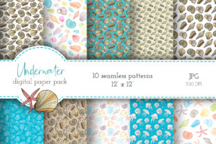Underwater Seamless Digital Paper Pack Graphic Patterns By Olya Haifisch