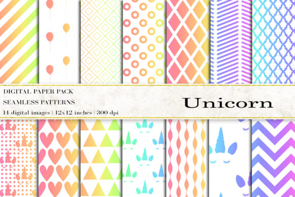 Unicorn Digital Papers Graphic Patterns By BonaDesigns