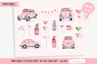 Print on Demand: Valentine Car Printable Stickers Graphic Crafts By Chonnieartwork