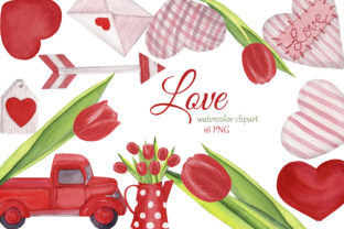 Print on Demand: Valentine Love Clipart, Hearts Png Graphic Illustrations By s.yanyeva