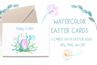 Watercolor Cards with Easter Eggs. Baby Graphic Illustrations By Alenamilolika