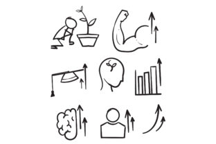 Print on Demand: Doodle  Simple Set of Personal Growth Grafik Icons von GwensGraphicstudio