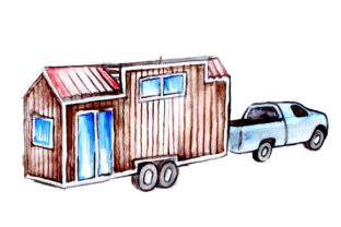 Tiny House Being Towed Cars Craft Cut File By Creative Fabrica Crafts