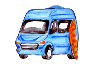 Campervan with Surfboard Cars Craft Cut File By Creative Fabrica Crafts