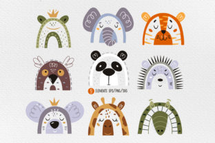 Print on Demand: Animal Face Clipart, Animal Svg Graphic Illustrations By FindsArtDesign