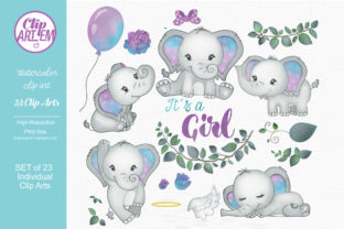 Print on Demand: Baby Girl Elephant Turquoise Gray 23PNG Graphic Illustrations By clipArtem