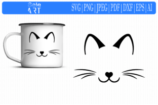Cat Face, Kitten Whiskers Graphic Crafts By SeleART