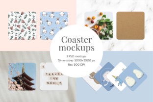 Print on Demand: Coaster Mockups | 3 PSD Files Graphic Product Mockups By Pixtordesigns