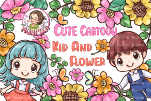 Print on Demand: Cute Character Cartoon Kid and Flower Graphic Illustrations By huapika