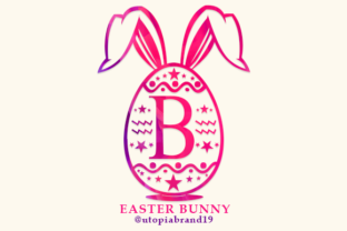 Print on Demand: Easter Bunny Monogram Decorativa Fuente Por utopiabrand19