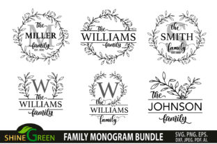 Print on Demand: Family Monogram Bundle 8 Farmhouse Signs Graphic Crafts By ShineGreenArt