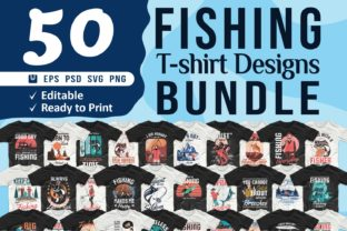 Print on Demand: Fishing T-shirt Designs Bundle Vector Graphic Print Templates By Universtock
