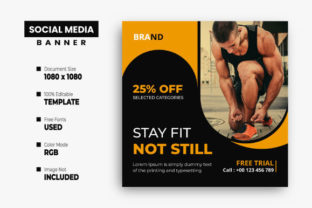 Fitness Social Media Post Design Graphic Web Templates By VectStock