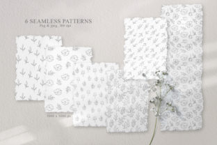 Print on Demand: Floral Line Art Seamless Patterns Graphic Patterns By Tiana Geo