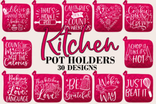 Print on Demand: Funny Kitchen Pot Holder SVG Bundle Graphic Crafts By freelingdesignhouse