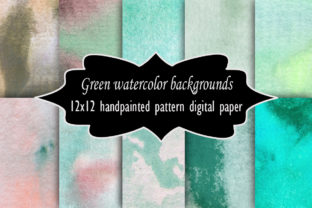 Print on Demand: Green Watercolor Backgrounds Paper Set Graphic Illustrations By A Design in Time