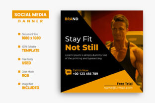 Gym Social Media Instagram Post Design Graphic Web Templates By VectStock