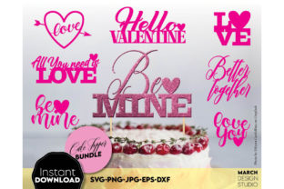Happy Valentine Day Cake Topper Bundle Graphic Crafts By March Design Studio