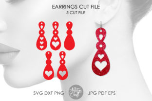 Print on Demand: Heart Dangle Earrings, Cut Files SVG Graphic 3D SVG By Artisan Craft SVG