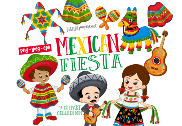 Print on Demand: Mexican Fiesta Clipart Set Graphic Illustrations By DigitalPapers