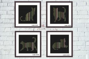 Print on Demand: Ornament Cats Cross Stitch Set of 4 Pcs Graphic Cross Stitch Patterns By Tango Stitch