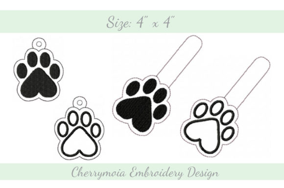 Paw Key Fob ITH Dogs Embroidery Design By CherrymoiaEmbroidery